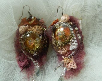 Earrings adorned with Crystal, felt, Rhinestones, Opals, dried leaves, autumn