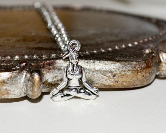Yoga Necklace, Yoga Lady Pendant, Sukhasana Necklace, Easy Pose Necklace, Yoga Jewelry, Sukhasana Pendant, Yoga Girl Necklace, Yoga Pendant