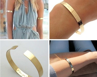 Fashion Gold Cuff Bracelet - Summer Bracelet - Personalized Bracelet for Her - Glamour Bracelet - Gold Bracelet - Upper Cuff Bracelet