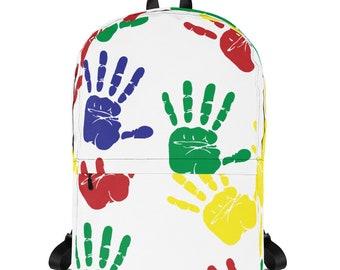 handprints backpack medium size colorful backback water-resistant material, inside laptop pocket, artistic and stylish backpack