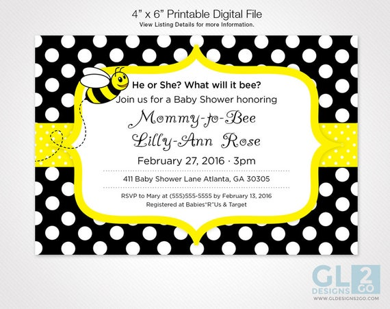 Marvelous Bee Baby Shower Invitation. What Will It Bee, Mommy To Bee 4x6 Digital  Download Invitation. Yellow, Black U0026 White Polka Dot Bee Invitation