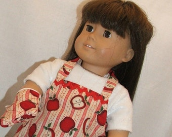 Red Apple Apron and Mitt for American Girl Doll in the kitchen