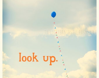 Look Up Fine Art Print Square Typography Sweet Pastel Balloon Clouds Nursery Home Decor Wholesale Gender Neutral Boy Girl Baby