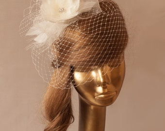 Ivory Birdcage Veil with Feather Flower Bridal Fascinator.