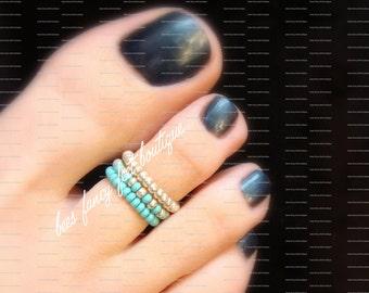 Stacking Toe Ring, Stacking Rings, Turquoise Beads, Silver Beads, Toe Ring, Ring, Stretch Bead Toe Ring