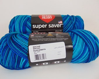 Macaw -  Red Heart Super Saver variegated yarn 100% acrylic  worsted weight - 4508