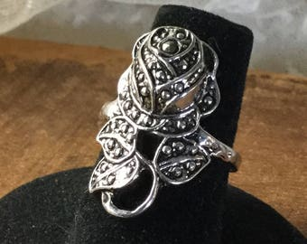 Largish Flower Marcasite Faux Marcasite Silver Tone Metal Ring Unsigned Size 6 1/4 Rose Leaves Thin Shank Oxidized Patina Highly Detailed