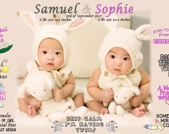 Personalized custom gift, face photo, personal quotes, birthday, new baby, photo cover, twins boy, twins girl