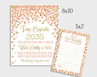 First Birthday Time Capsule Printable Coral And Gold Confetti Time Capsule Sign & Message Cards 1st Birthday Party Ideas For Girls