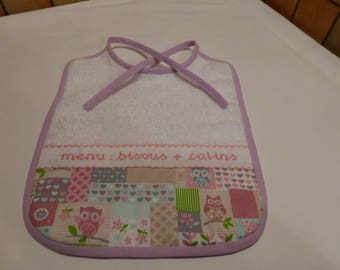 Embroidered baby pastels - Huguette OWL bib