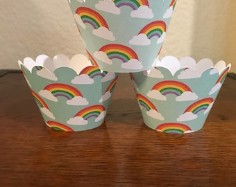rainbow 12 cupcake wrappers, unicorn cupcake wrappers, my little pony cupcake wrappers, hello kitty cupcake wrappers, wizard of oz cupcake