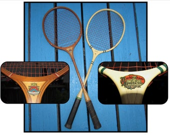 TWO - Vintage Wooden Badminton Rackets Racquets with Spalding Wood Frame Press, Cortland Fairplay, Buckingham Sports, Tacoma Washington