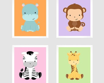 Safari Animals, Wall Art, Safari Nursery Decor, Monkey Print, Zebra Print, Safari Animals, Jungle Prints, Custom Colors, Nursery Wall Decor