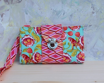 Small wallet with tongue closure, wristlet wallet, card pockets, zipper change pockets, removable wrist strap, smartphone clutch, ID pocket