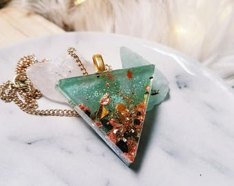 Holographic Crystal Resin Triangle Pendant Necklace - Crushed Tiger's Eye, Peridot, Garnet