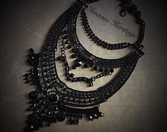 Sultana Noir Statement Necklace, Bib statement necklace, metal necklace, layered necklace, chunky statement necklace, Crystal necklace