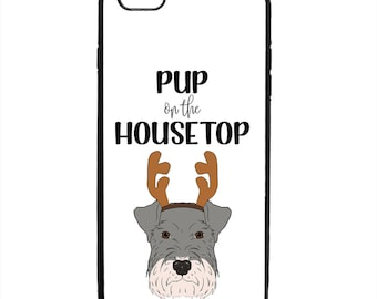 Christmas Pup On The Housetop Phone Case Samsung Galaxy S5 S6 S7 S8 S9 Note Edge iPhone 4 4S 5 5S 5C 6 6S 7 7S 8 8S X SE Plus