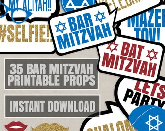 35 Bar Mitzvah props, Bat mitzvah photo props, Bar Mitzvah photo booth printable props, gold glitter, photobooth props jewish celebration