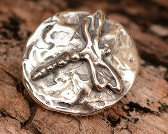 Artisan Dragonfly Button in Sterling Silver B-90