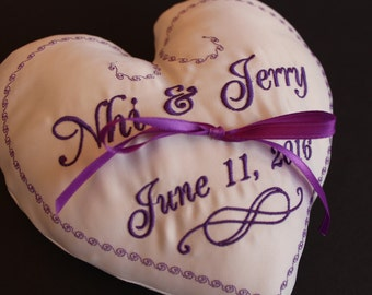 Personalized Heart Wedding Ring bearer pillow, ribbon, Infinity sign, Customizable wedding, Monogrammed, wedding color Custom embroidery 7x7