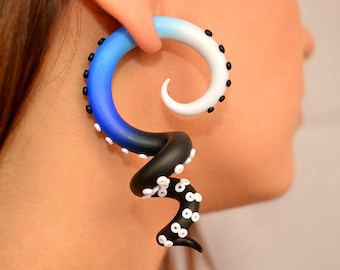 Hades Octopus Plug or Octopus Tentacles Gauges, Earrings for Stretched Lobes, Tentacle Plug 2g 0g 00g 716 12 916 58