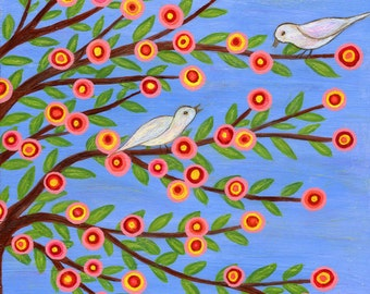 Bird Painting Whimsical Bird Art Print on Wood Birds on Tree Branches Painting
