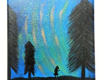 Northern Lights Inspired Silhouette Canvas