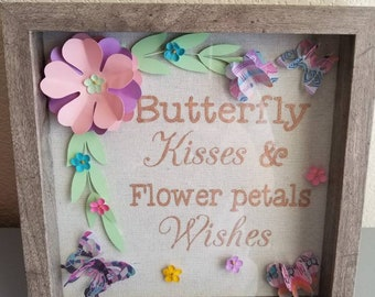 Butterfly Kisses and Flower Petals Kisses Shadow Box