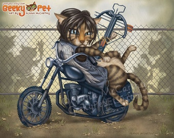 The Walking Dead: Daryl Dixon Cat - 10x8 art print - Daryl resting on his chopper motorcycle with his crossbow ready for zombies