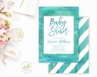 Baby Shower Invitation, Baby Boy Shower Invitation, Baby Shower Invite, Watercolor Baby Shower Invite, Baby Shower Invitation Boy, 5x7