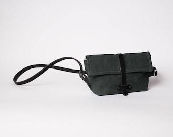 Waxed Canvas Leather Purse | Waxed Canvas Crossbody Purse | Olive Green Crossbody Purse | Minimalist Purse | Waxed Canvas Clutch