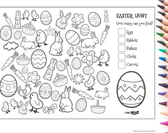 Easter Counting Colouring Page Easter Egg Hunt Count the Rabbits, Chicks, Carrots Easter Activity Class Printable Decorate Easter Basket