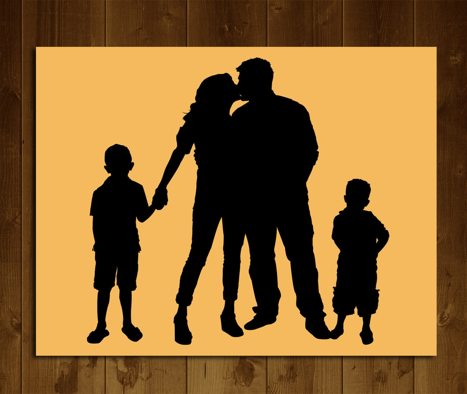 Custom Silhouette Portrait from your Photo Familly Silhouette