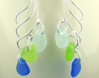 Eco Friendly GENUINE Sea Glass Earrings Sterling Silver Cobalt Aqua Green
