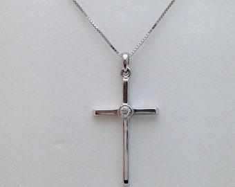 14K White Gold Bezel Diamond Solitaire Cross Pendant