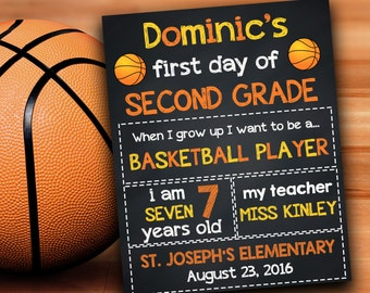 first day of second grade basketball school signs