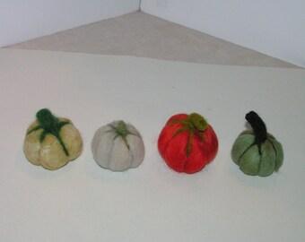 Primitive Needle Felted Pumpkins Soft Sculpture Green Orange Grey White Fall Halloween Gift
