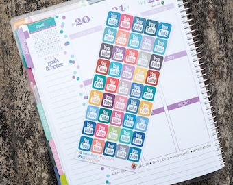35 Youtube Sticker Planner  // Perfect for any Planners