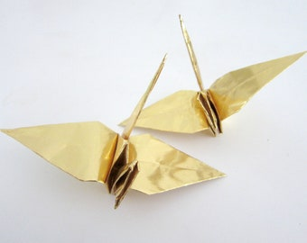 SALE 6 Large Silver or Gold Origami Cranes