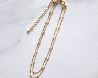 24K gold plated chain anklet,gold satellite chain anklet,dainty gold anklet,delicate beaded chain anklet,gold anklet bracelet,layered anklet