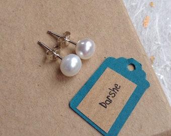 White Pearl Studs, Pearl Studs, White Pearl earrings, Pearl earrings, Button pearl Earrings, Button Pearl studs, June Birthday, silver studs