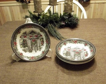 Royal Stafford *-* CHRISTMAS HOUSE *-* Coupe Cereal Bowl, 3 available Individually or 3 piece set