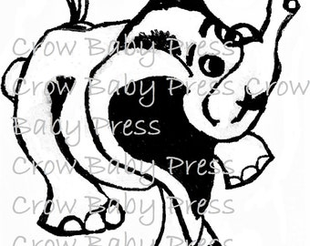 Elephant clip art, black and white clip art, png, elephant line art, cute elephant, digistamp, instant download, digital file, baby elephant