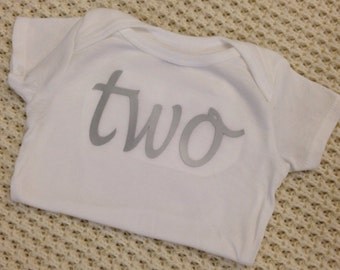 """Silver Iron-On vinyl cursive """"two"""" lettering for yearly, monthly or birthday onesie- Lettering ONLY (First Class Mail Shipping)"""