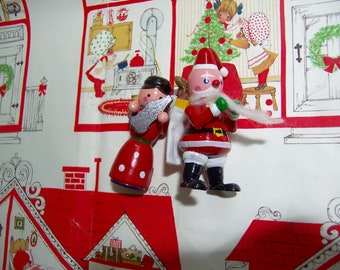 cute santa claus and mrs claus ornaments