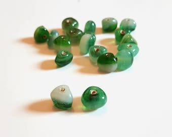 Green Triangle Beads. Green and white Glass Bead Mix. Green Triangle Beads. Jewellery Making. Jewellery Design. Unusual Beading Project.