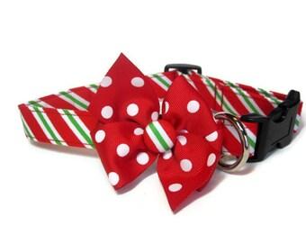 Christmas Stripes Dog Collar size Medium