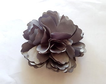 2x Grey Satin Rose Flower Baby Girl Hair Clips Brooches