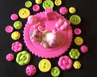 Fondant baby girl buttons cake topper for Baby Shower, Birthday, Party Favor