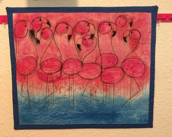 "Art Quilt, ""Flamingo"", Multi Media,  Fiber art, Wall Hanging"
